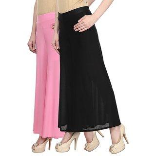 Skyline Pack Of 2 Pink  Black Satin Lycra Palazzo Trousers (SkylineCSDPLZOA25)