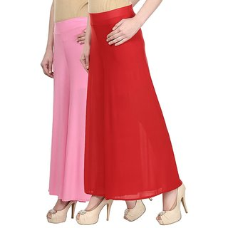 Skyline Pack Of 2 Pink  Red Satin Lycra Palazzo Trousers (SkylineCSDPLZOA28)