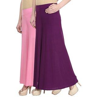 Skyline Pack Of 2 Pink  Purple Satin Lycra Palazzo Trousers (SkylineCSDPLZOA29)