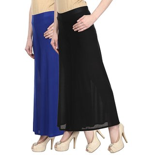 2a52510d729259 Buy Skyline Pack Of 2 Blue Black Satin Lycra Palazzo Trousers  (SkylineCSDPLZOA35) Online - Get 65% Off