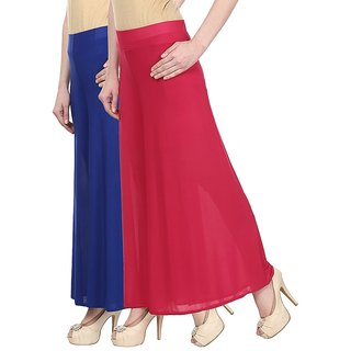 Skyline Pack Of 2 Blue  Pink Satin Lycra Palazzo Trousers (SkylineCSDPLZOA36)