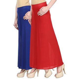 Skyline Pack Of 2 Blue  Red Satin Lycra Palazzo Trousers (SkylineCSDPLZOA38)