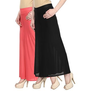 Skyline Pack Of 2 Pink  Black Satin Lycra Palazzo Trousers (SkylineCSDPLZOA45)
