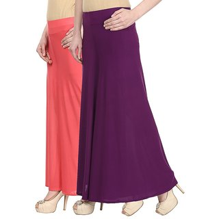 Skyline Pack Of 2 Pink  Purple Satin Lycra Palazzo Trousers (SkylineCSDPLZOA49)