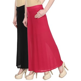 Skyline Pack Of 2 Black  Pink Satin Lycra Palazzo Trousers (SkylineCSDPLZOA56)