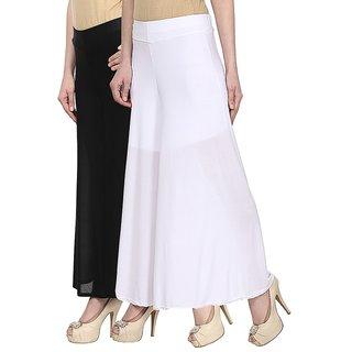 Skyline Pack Of 2 Black  White Satin Lycra Palazzo Trousers (SkylineCSDPLZOA57)