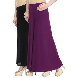 Skyline Pack Of 2 Black  Purple Satin Lycra Palazzo Trousers (SkylineCSDPLZOA59)