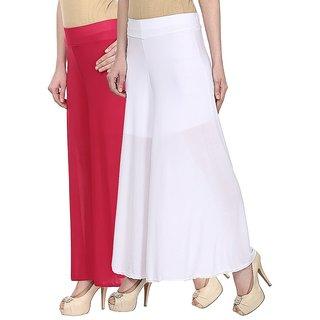 Skyline Pack Of 2 Pink  White Satin Lycra Palazzo Trousers (SkylineCSDPLZOA67)