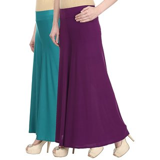 Skyline Pack Of 2 Blue  Purple Satin Lycra Palazzo Trousers (SkylineCSDPLZOA109)