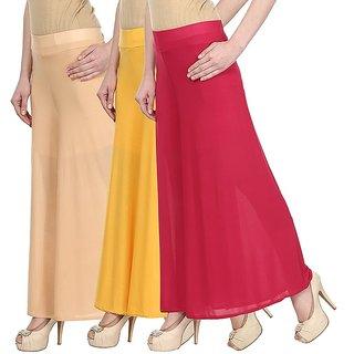 Skyline Pack Of 3 Beige, Pink  Orange Georgette Palazzo Trousers (SkylineCSDPLZOA1116)