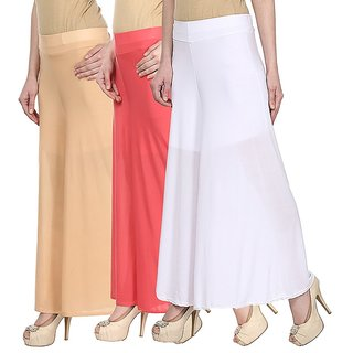 Skyline Pack Of 3 Yellow, Pink  Purple Satin Lycra Palazzo Trousers (SkylineCSDPLZOA147)