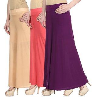 Skyline Pack Of 3 Yellow, White  Purple Satin Lycra Palazzo Trousers (SkylineCSDPLZOA149)