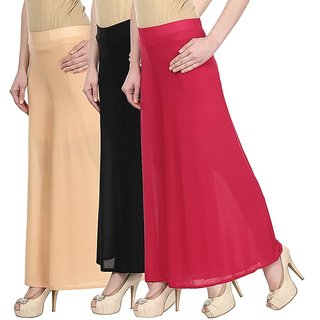 Skyline Pack Of 3 Yellow, Red  Purple Satin Lycra Palazzo Trousers (SkylineCSDPLZOA156)