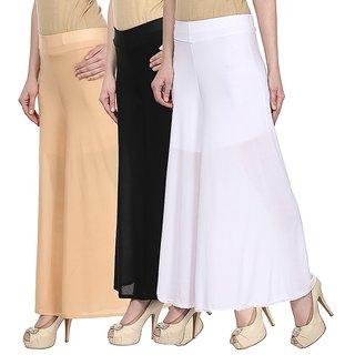 Skyline Pack Of 3 Yellow, Maroon  Pink Satin Lycra Palazzo Trousers (SkylineCSDPLZOA157)