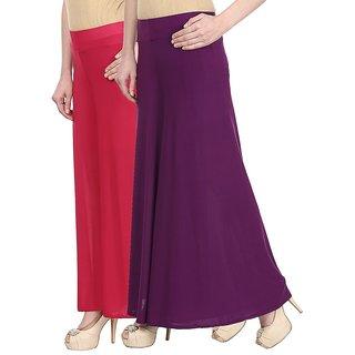 Skyline Pack Of 2 Pink  Purple Satin Lycra Palazzo Trousers (SkylineCSDPLZOA69)