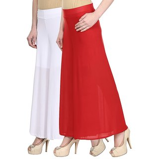 Skyline Pack Of 2 White  Red Satin Lycra Palazzo Trousers (SkylineCSDPLZOA78)