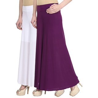 Skyline Pack Of 2 White  Purple Satin Lycra Palazzo Trousers (SkylineCSDPLZOA79)