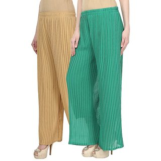 Skyline Pack Of 2 Beige  Green Georgette Palazzo Trousers (SkylineCSDPLZOB110)