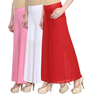 Skyline Pack Of 3 Pink, White  Red Satin Lycra Palazzo Trousers (SkylineCSDPLZOA278)