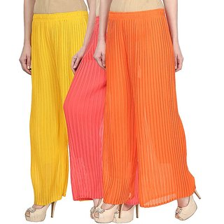 Skyline Pack Of 3 Yellow, Pink  Orange Georgette Palazzo Trousers (SkylineCSDPLZOB1124)