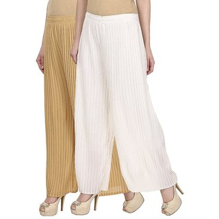 Skyline Pack Of 2 Beige  White Georgette Palazzo Trousers (SkylineCSDPLZOB17)