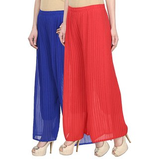 Skyline Pack Of 2 Blue  Red Georgette Palazzo Trousers (SkylineCSDPLZOB38)
