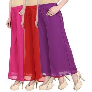 Skyline Pack Of 3 Pink, Red  Purple Georgette Palazzo Trousers (SkylineCSDPLZOC689)