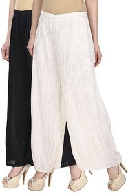 Skyline Pack Of 2 Black  White Georgette Palazzo Trousers (SkylineCSDPLZOB57)