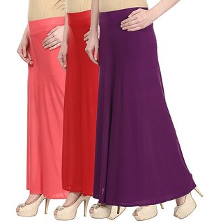 Skyline Pack Of 3 Pink, Red  Purple Satin Lycra Palazzo Trousers (SkylineCSDPLZOA489)