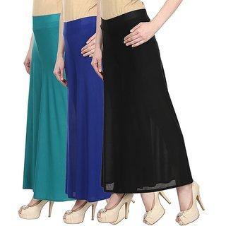 Skyline Pack Of 3 Blue, Blue  Black Satin Lycra Palazzo Trousers (SkylineCSDPLZOA1035)