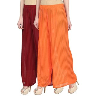 Skyline Pack Of 2 Maroon  Orange Georgette Palazzo Trousers (SkylineCSDPLZOB124)
