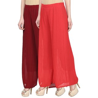Skyline Pack Of 2 Maroon  Red Georgette Palazzo Trousers (SkylineCSDPLZOB128)