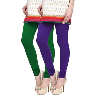 Skyline Pack of 2 Green  Purple Cotton Lycra Leggings (SkylineCSDLC89)