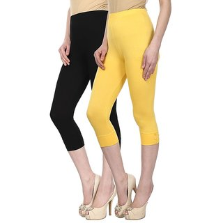 Skyline Trading Pack Of 2 Black  Yellow Cotton Lycra Capris (SkylineCSDCAPRI16)
