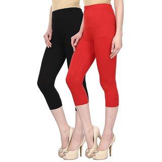 Skyline Trading Pack Of 2 Black  Red Cotton Lycra Capris (SkylineCSDCAPRI17)