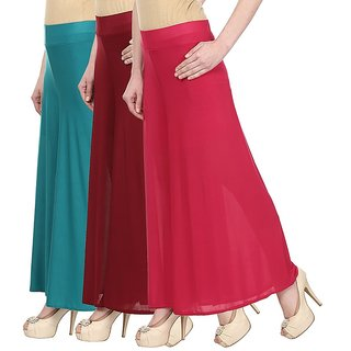Skyline Pack Of 3 Blue, Maroon  Pink Satin Lycra Palazzo Trousers (SkylineCSDPLZOA10126)