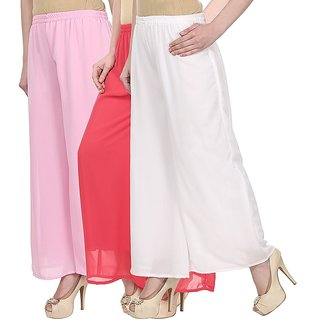 Skyline Pack Of 3 Pink, Pink  White Georgette Palazzo Trousers (SkylineCSDPLZOC1227)