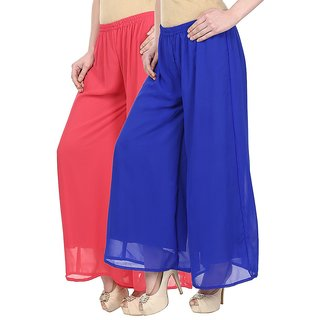 Skyline Pack Of 2 Pink  Blue Georgette Palazzo Trousers (SkylineCSDPLZOC23)