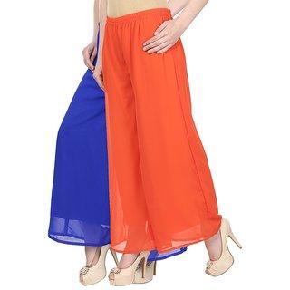 Skyline Pack Of 2 Blue  Orange Georgette Palazzo Trousers (SkylineCSDPLZOC34)
