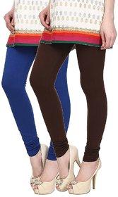 Skyline Pack of 2 Blue  Brown Cotton Lycra Leggings (SkylineCSDLC125)