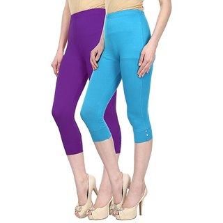 Skyline Trading Pack Of 2 Purple  Blue Cotton Lycra Capris (SkylineCSDCAPRI45)