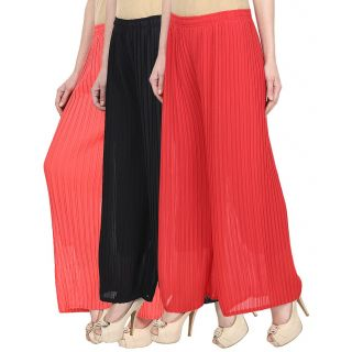 Skyline Pack Of 3 Pink, Black  Red Georgette Palazzo Trousers (SkylineCSDPLZOB258)