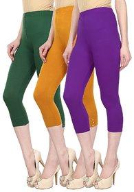 Skyline Pack Of 3 Green, Yellow  Purple Cotton Lycra Capris (SkylineCSDCAPRI234)