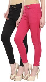 Skyline Pack of 2 Black  Pink Poly Lycra Treggings (SkylineCSDTRGA56)
