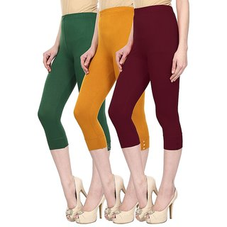Skyline Pack Of 3 Green, Yellow  Maroon Cotton Lycra Capris (SkylineCSDCAPRI239)