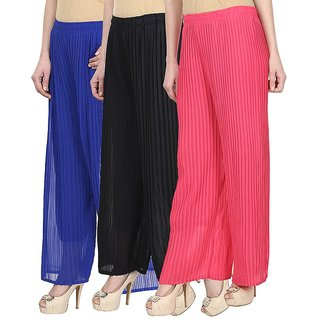 Skyline Pack Of 3 Blue, Black  Pink Georgette Palazzo Trousers (SkylineCSDPLZOB356)