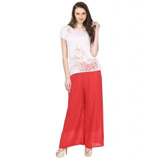 Skyline Trading Red Casual Palazzo Trousers (SkylineCSDPLZOB8)