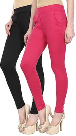 Skyline Pack of 2 Black  Pink Poly Lycra Treggings (SkylineCSDTRGC56)