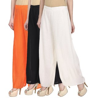 Skyline Pack Of 3 Orange, Black  White Georgette Palazzo Trousers (SkylineCSDPLZOB457)