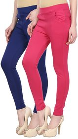 Skyline Pack of 2 Blue  Pink Poly Lycra Treggings (SkylineCSDTRGB36)